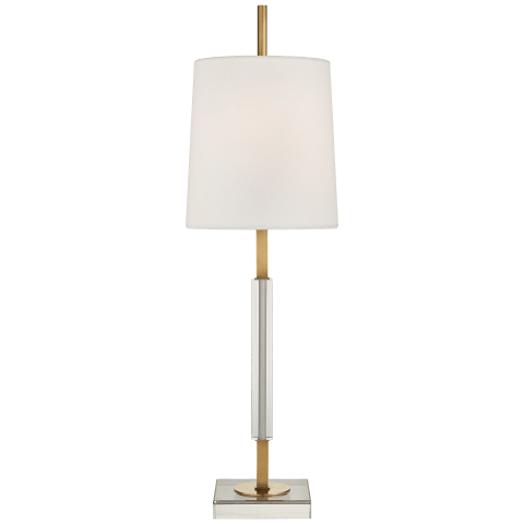 Lexington Medium Table Lamp in Hand-Rubbed Antique Brass and Crystal with Linen Shade