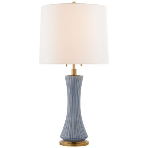 Elena Large Table Lamp in Emerald Green with Linen Shade