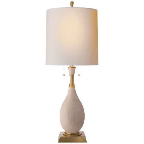 Tamaso Small Table Lamp in Tea Stain Porcelain with Natural Paper Shade