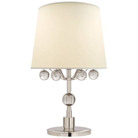 Voltaire Bedside Lamp in Polished Nickel and Crystal with Linen Shade
