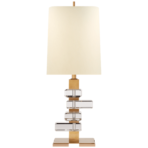 Moreau Medium Table Lamp in Hand-Rubbed Antique Brass and Crystal with Natural Percale Shade