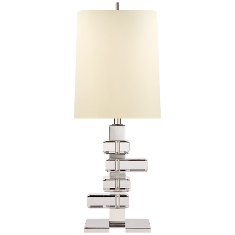 Moreau Medium Table Lamp in Polished Nickel and Crystal with Natural Percale Shade