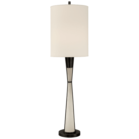 Robinson Tall Buffet Lamp in Bronze and Alabaster with Natural Percale Shade