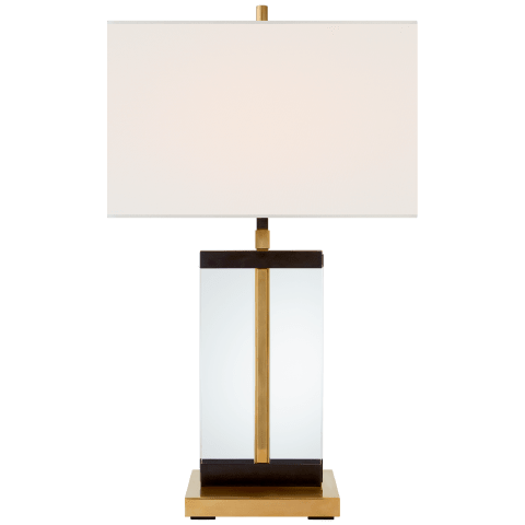 Porto Medium Table Lamp in Bronze and Hand-Rubbed Antique Brass with Linen Shade