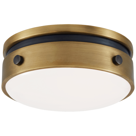 """Hicks 5.5"""" Solitaire Flush Mount in Bronze and Hand-Rubbed Antique Brass with White Glass"""
