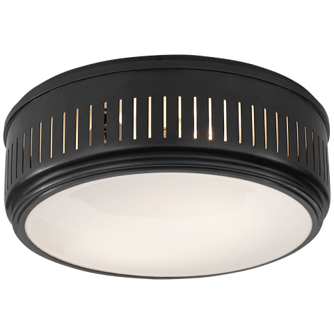 Eden Large Flush Mount in Bronze with White Glass