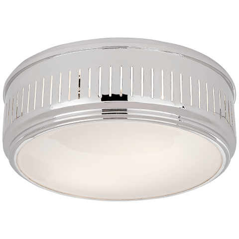 Eden Large Flush Mount in Polished Nickel with White Glass