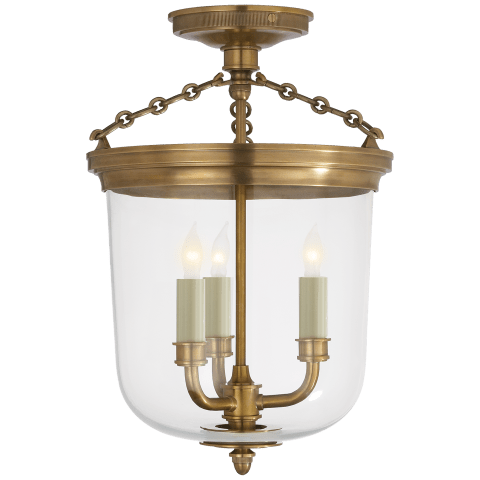 Merchant Semi-Flush in Hand-Rubbed Antique Brass with Clear Glass