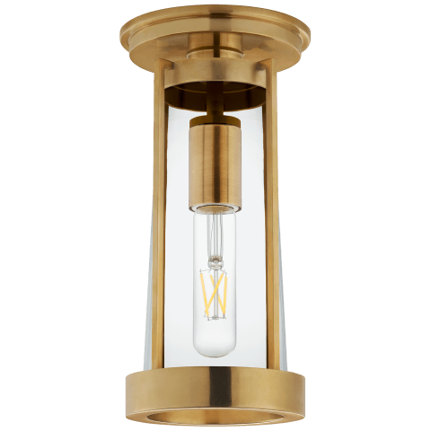 Calix Tall Flush in Hand-Rubbed Antique Brass with Clear Glass