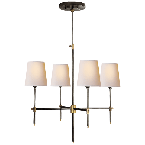 Bryant Small Chandelier in Hand-Rubbed Antique Brass with Natural Paper Shades