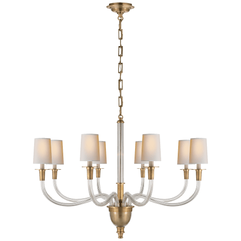Vivian Large One-Tier Chandelier in Hand-Rubbed Antique Brass with Natural Paper Shades