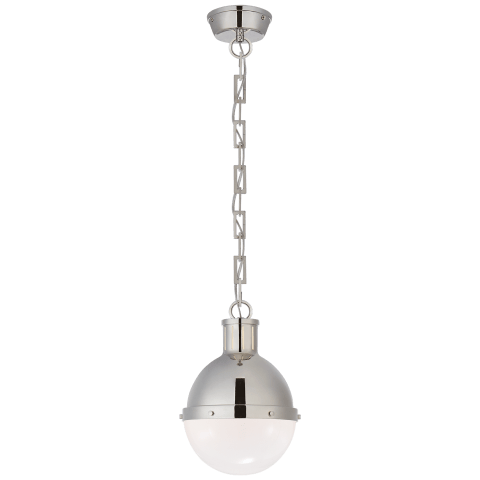 Hicks Small Pendant in Polished Nickel with White Glass