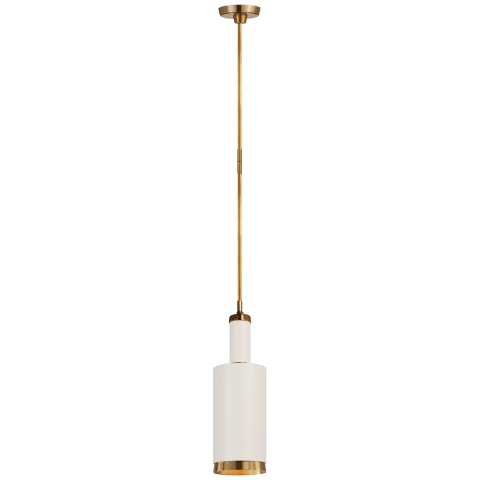Anders Large Cylindrical Pendant in Hand-Rubbed Antique Brass and White