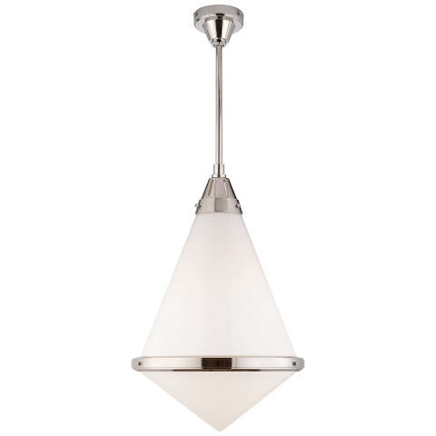 Gale XL Pendant in Polished Nickel with White Glass