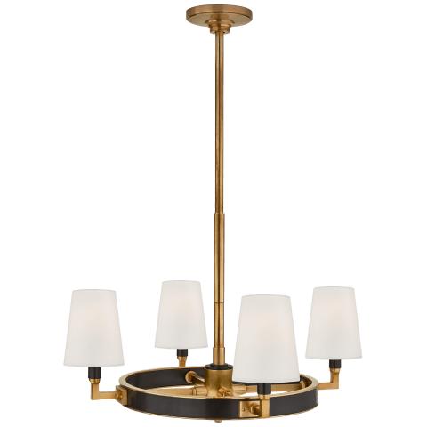 Watson Small Ring Chandelier in Bronze and Hand-Rubbed Antique Brass with Linen Shades