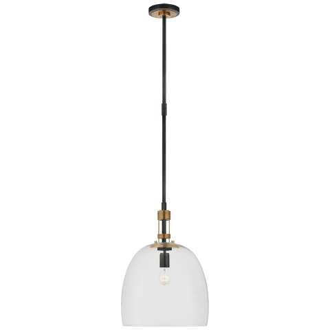 Gable Medium Bell Pendant in Bronze and Hand-Rubbed Antique Brass with Clear Glass