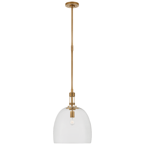 Gable Medium Bell Pendant in Hand-Rubbed Antique Brass with Clear Glass