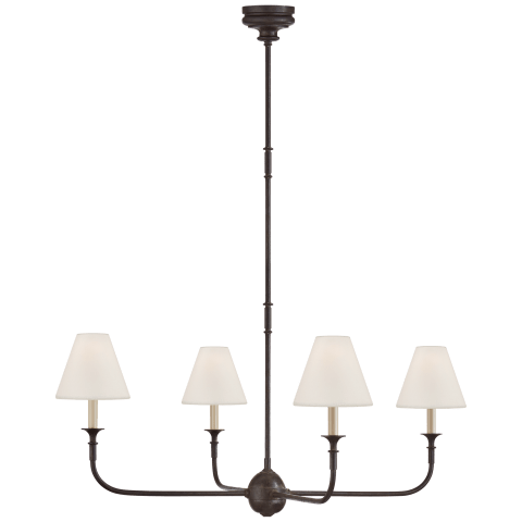 Piaf Large Chandelier in Aged Iron and Ebonized Oak with Linen Shades
