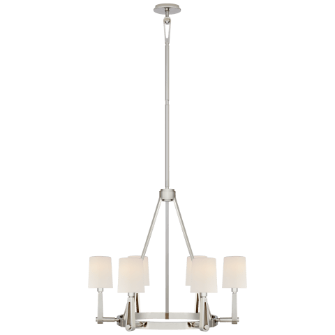 Alpha Medium Chandelier in Polished Nickel with Linen Shades