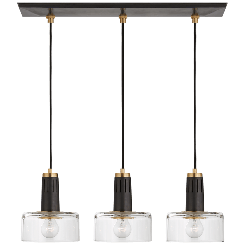 Iris Triple Linear Pendant in Bronze and Hand-Rubbed Antique Brass with Clear Glass
