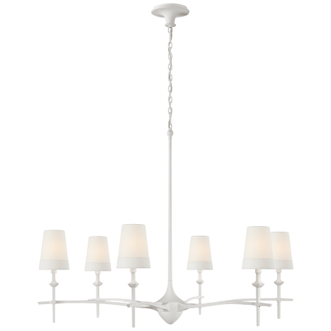 Pippa Grande Chandelier in Plaster White with Linen Shades