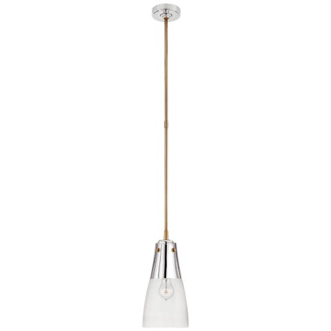 Altare Small Pendant in Polished Nickel and Hand-Rubbed Antique Brass with Clear Glass