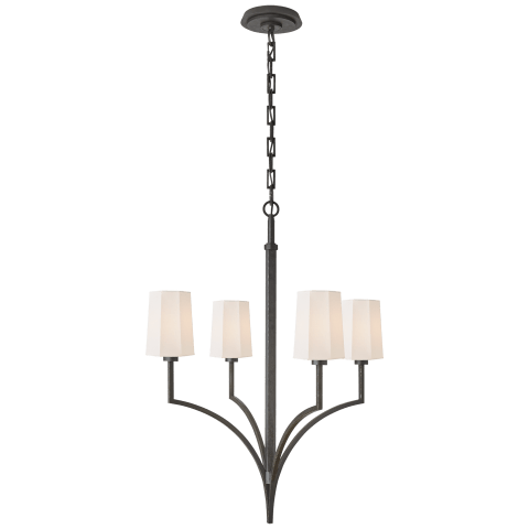 Pietro Small Chandelier in Aged Iron with Linen Shades