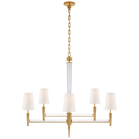 Lyra Two Tier Chandelier in Hand-Rubbed Antique Brass and Crystal with Linen Shades