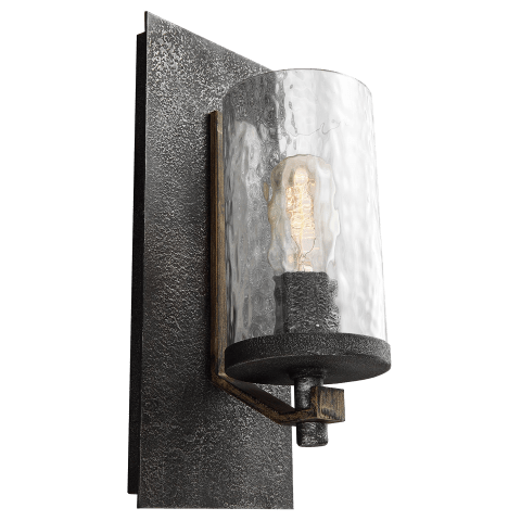 Angelo 1 - Light Wall Sconce Distressed Weathered Oak / Slate Grey Metal