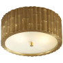 Frank Small Flush Mount in Natural Brass with Frosted Glass