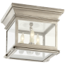 Club Small Square Flush Mount in Antique Nickel with Clear Glass