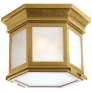 Club Small Hexagonal Flush Mount in Antique-Burnished Brass with Frosted Glass
