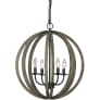 Allier 4 - Light Pendant fixture Weathered Oak Wood / Antique Forged Iron