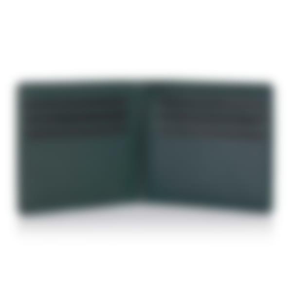 Green Label luxury leather billfold wallet open