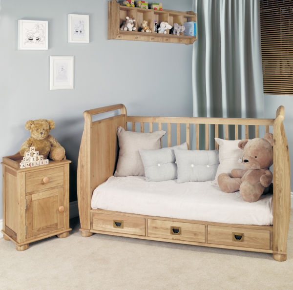 Amelie Oak Cot Bed and Bedside Table