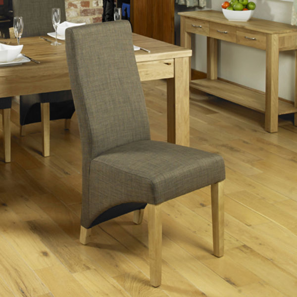 Two full back hazelnut dining chairs