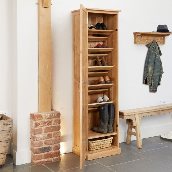 Mobel Oak Tall Shoe Cupboard