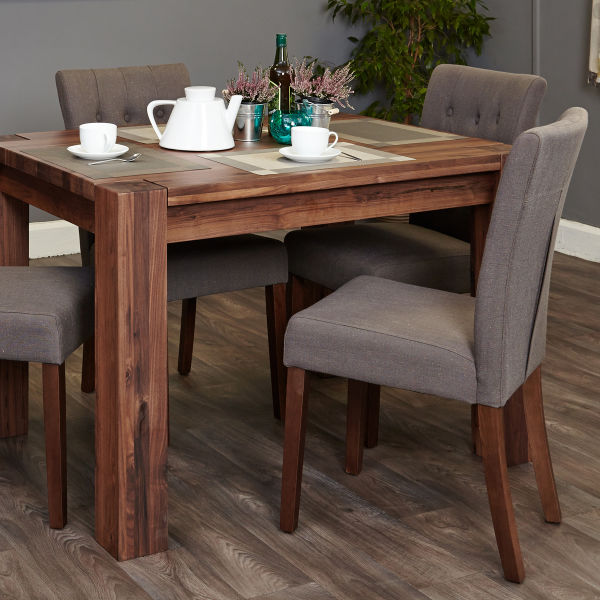 Shiro Walnut 4 seat dining table and 4 grey linen chairs