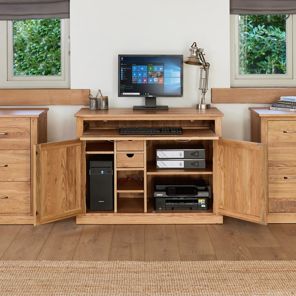 mobel oak hidden home office workstation
