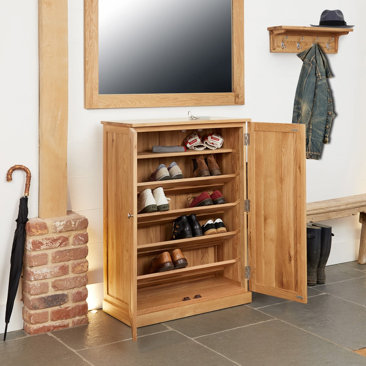 exciting hall cabinets furniture | Mobel Oak Large Shoe Cabinet Was £470.00 Now £419.00 ...