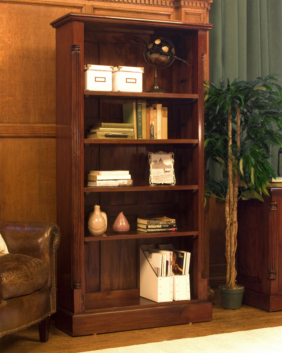 Living Room With Bookshelf: La Roque Tall Open Mahogany Bookcase Was £720.00 Now £639