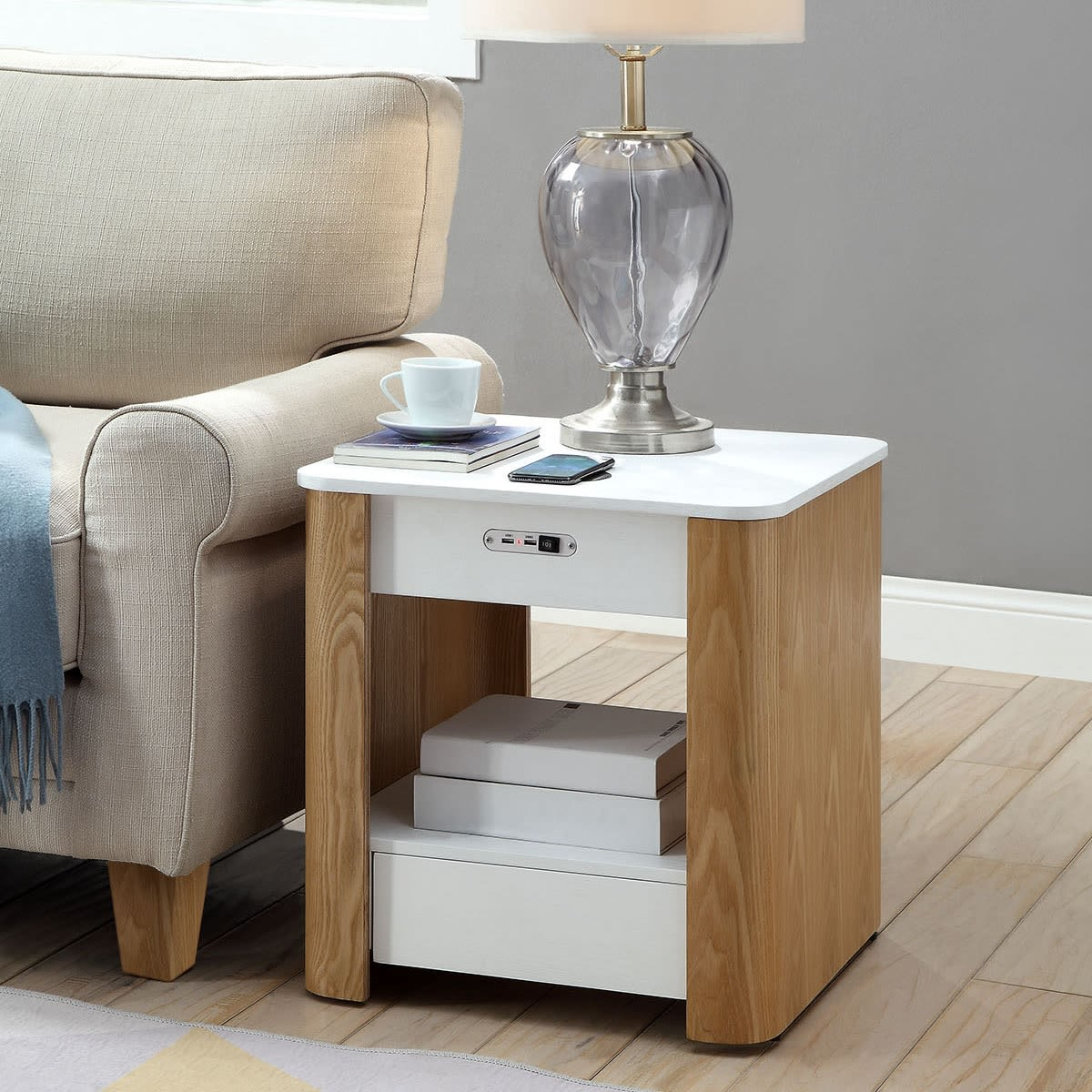 San Francisco Curved Lamp Table With Qi Wireless Charger