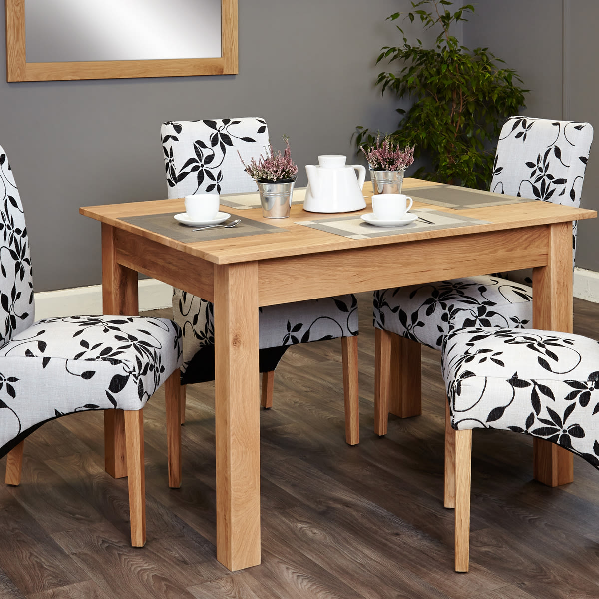 mobel oak 4 seat dining table and 4 upholstered chairs was 829 00 now 699 00 wooden furniture store