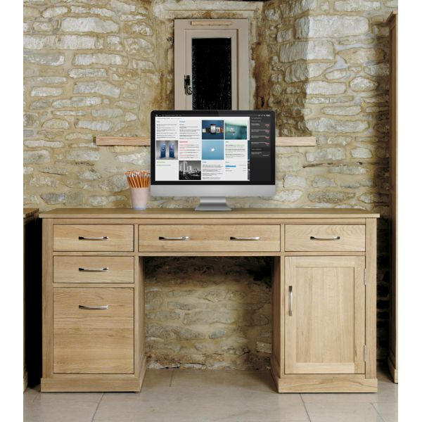 Mobel Oak Twin Pedestal Computer Desk