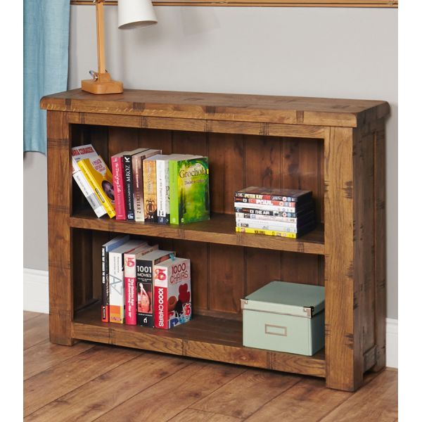 Rough Sawn Oak Low Bookcase
