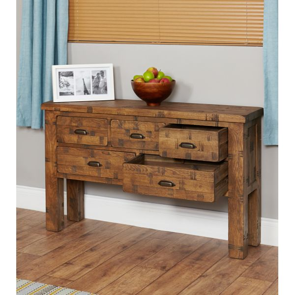 Rough Sawn Oak Console Table