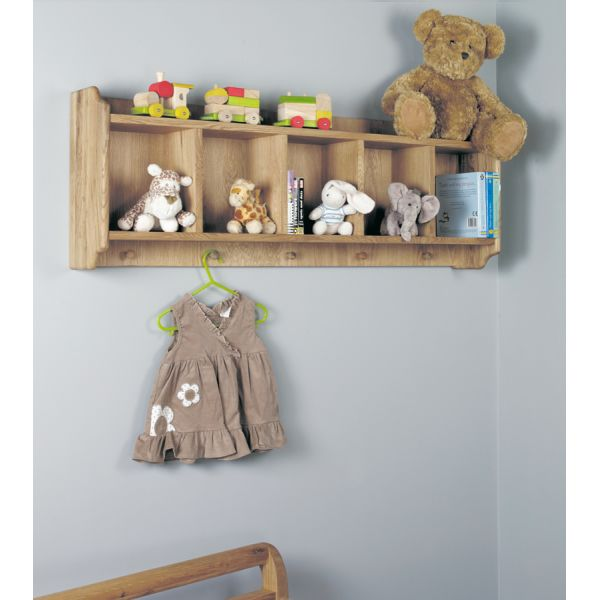 Moppet Oak Wall Shelf with Hanging Pegs