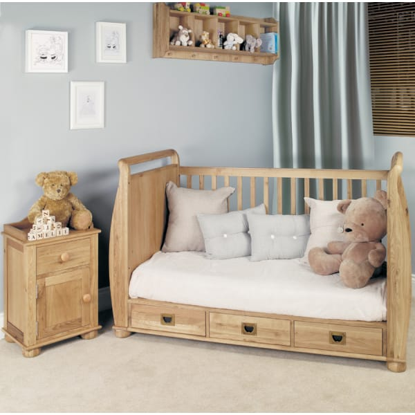 Moppet Oak Cot Bed and Bedside Table