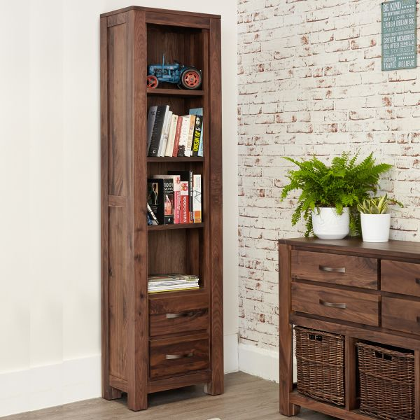 Mayan Walnut Narrow Bookcase