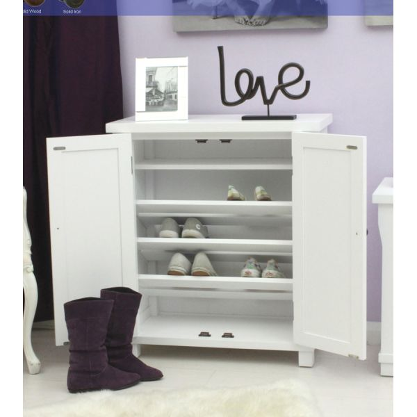 Vermont White Painted Shoe Cupboard
